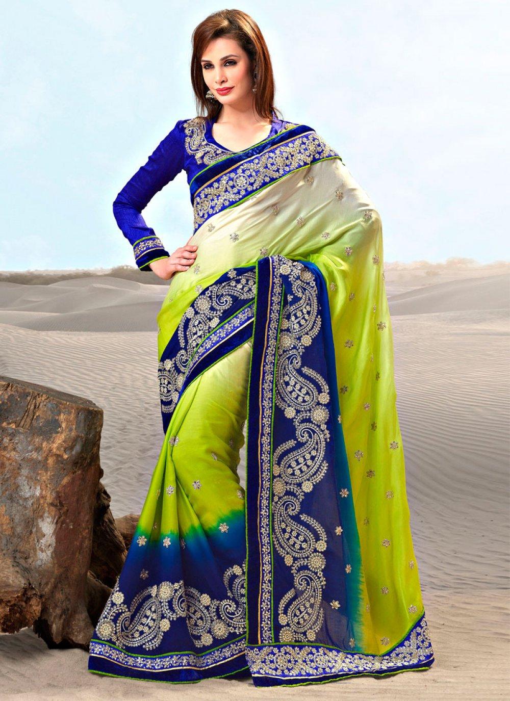 Lime Green And Blue Satin Saree