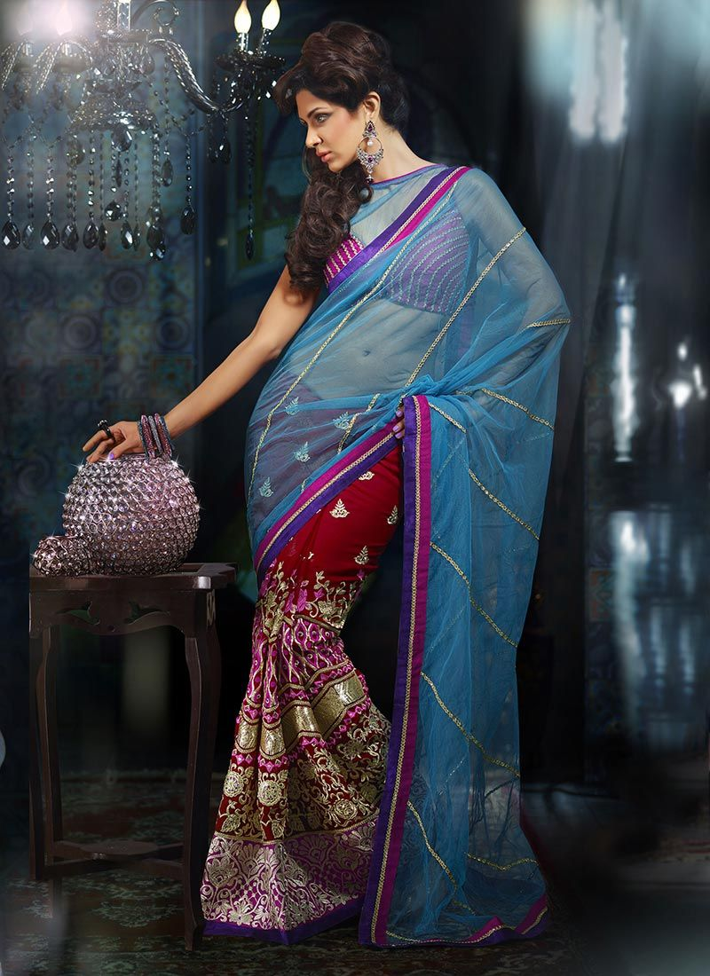 Maroon And Aqua Blue Lehenga Saree