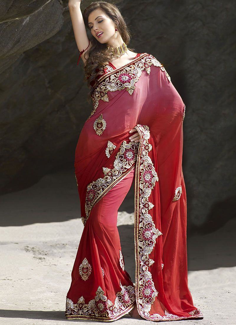 Shaded Maroon Faux Chiffon Saree