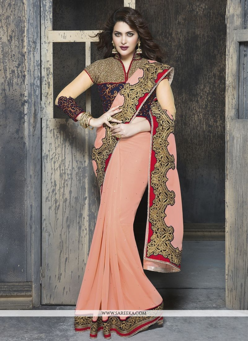 Patch Border Work Peach Designer Saree