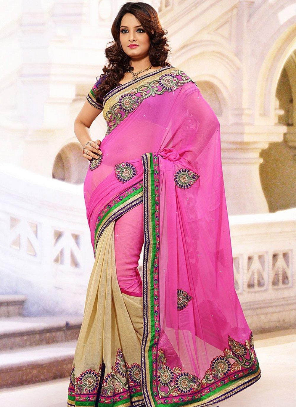 Pink Art Silk Chiffon Half N Half Saree