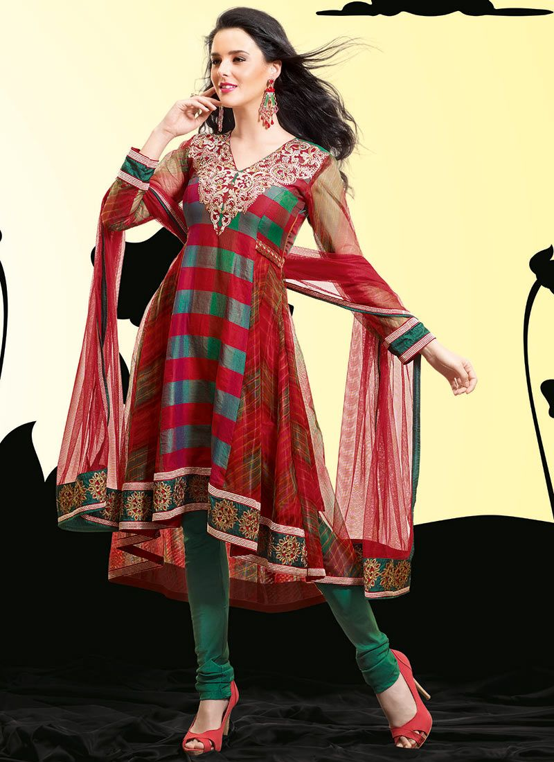 Red Net Churidar Suit