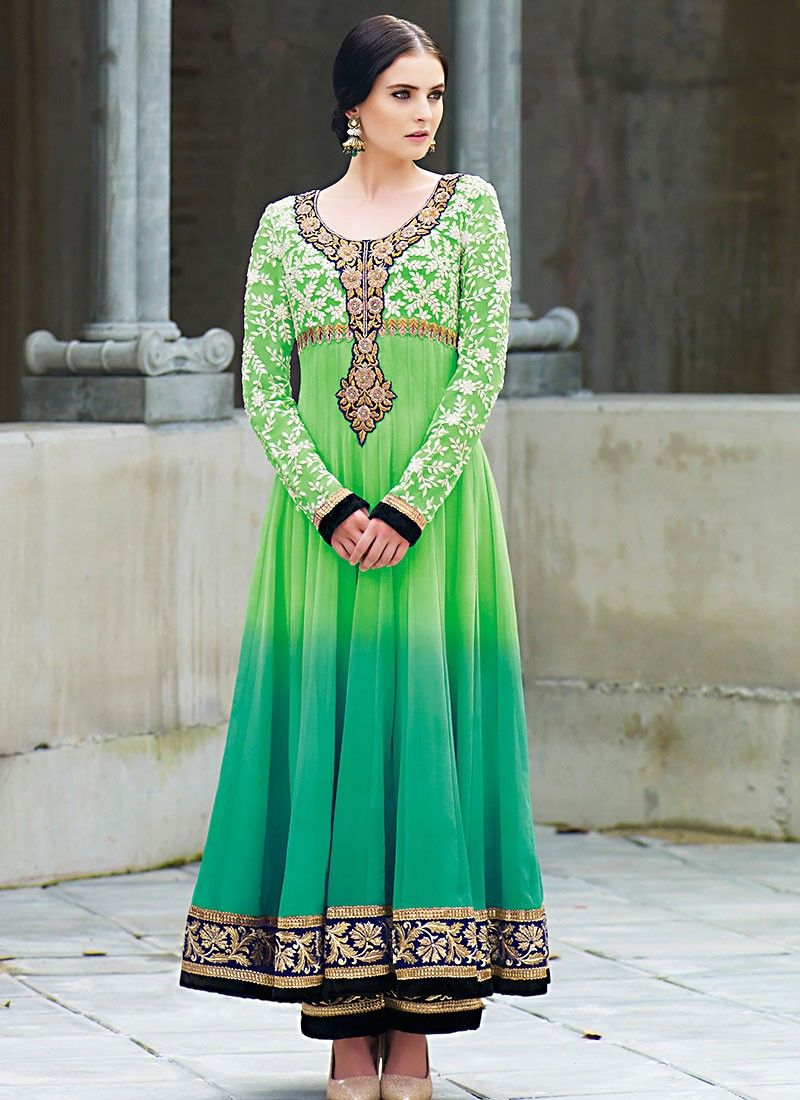Catching Green Faux Georgette Anarkali Suit