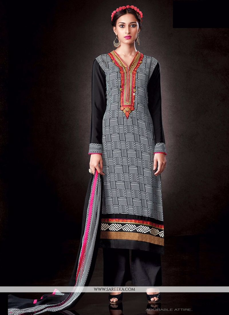 Black Print Work Designer Pakistani Salwar Suit