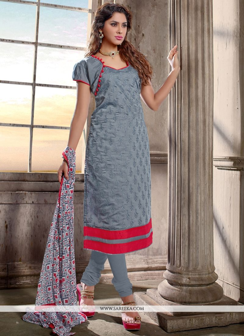 Chanderi Cotton Grey Lace Work Churidar Designer Suit