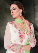 Embroidered Work Georgette White Churidar Salwar Suit