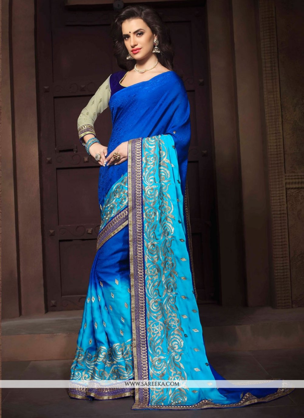 Jacquard Blue Embroidered Work Designer Saree