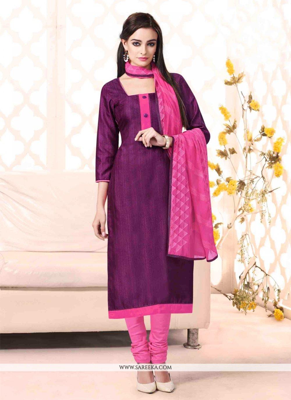 Lace Work Violet Bhagalpuri Silk Churidar Salwar Suit