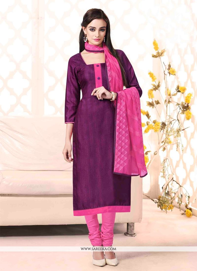 Lace Work Violet Bhagalpuri Silk Churidar Salwar Suit
