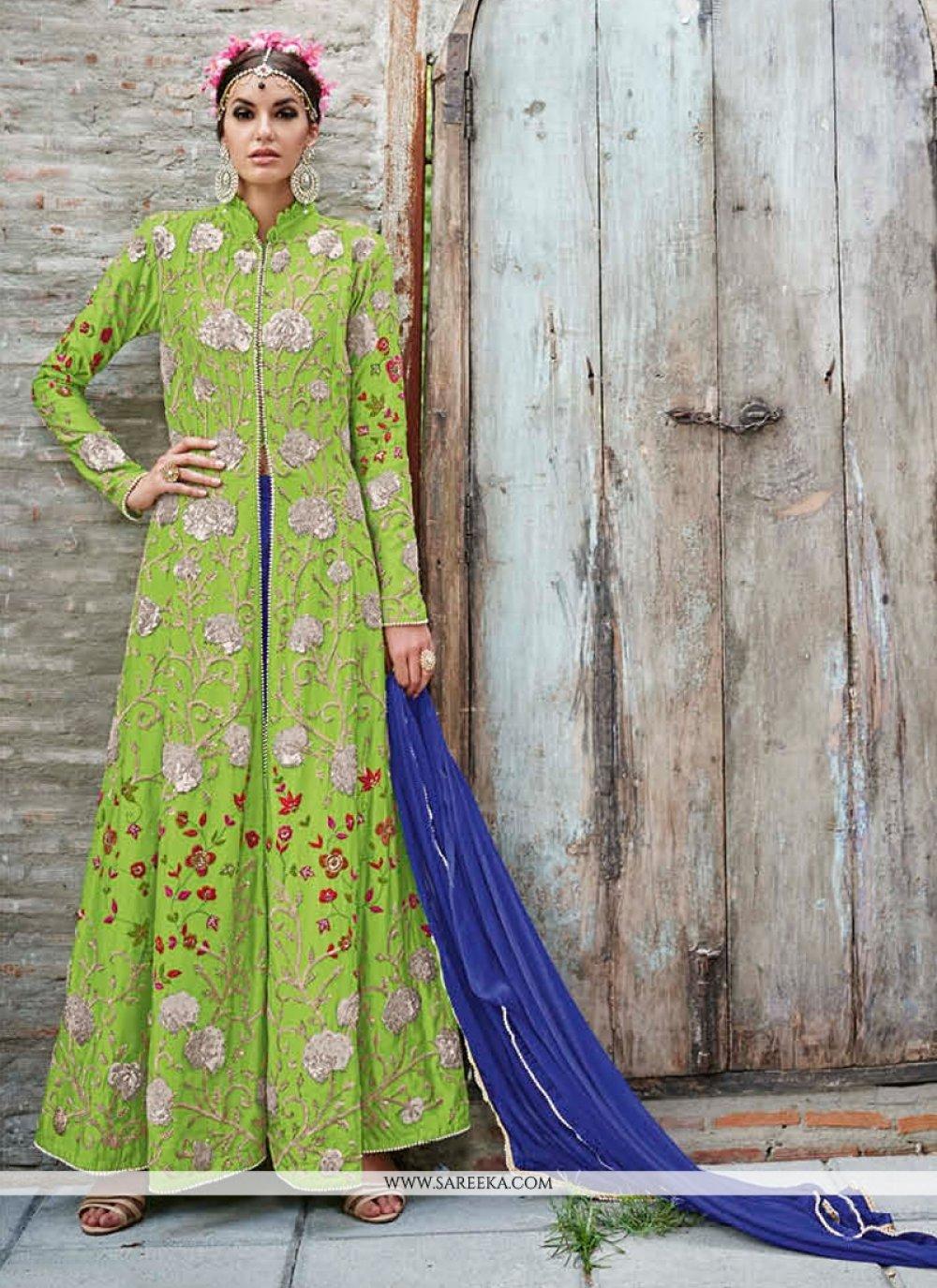 Net Embroidered Work Anarkali Salwar Suit