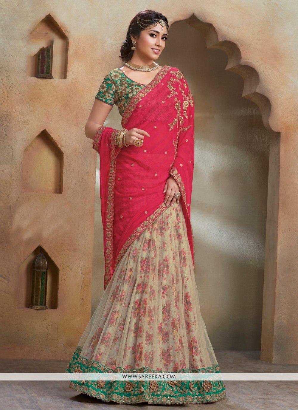 Patch Border Work Cream and Hot Pink Designer Saree