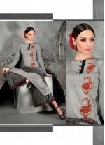 Resham Work Cotton   Grey Designer Suit