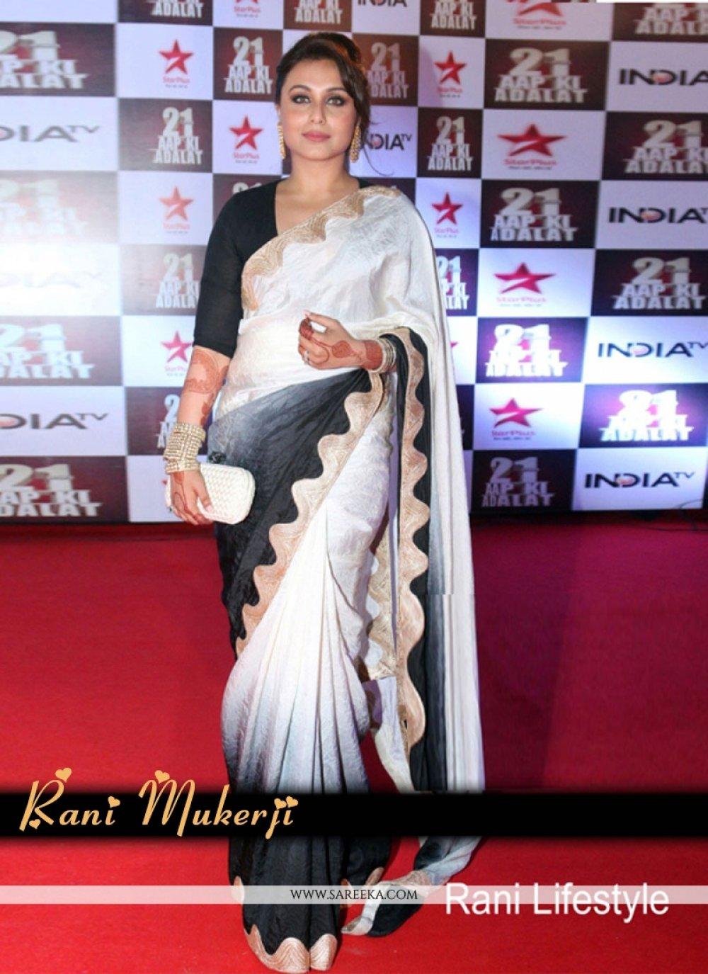 Satin Black and Off White Bollywood Saree