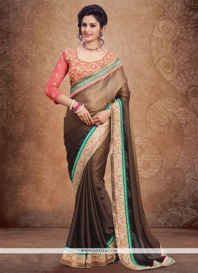 Brown Crepe Jacquard Designer Saree