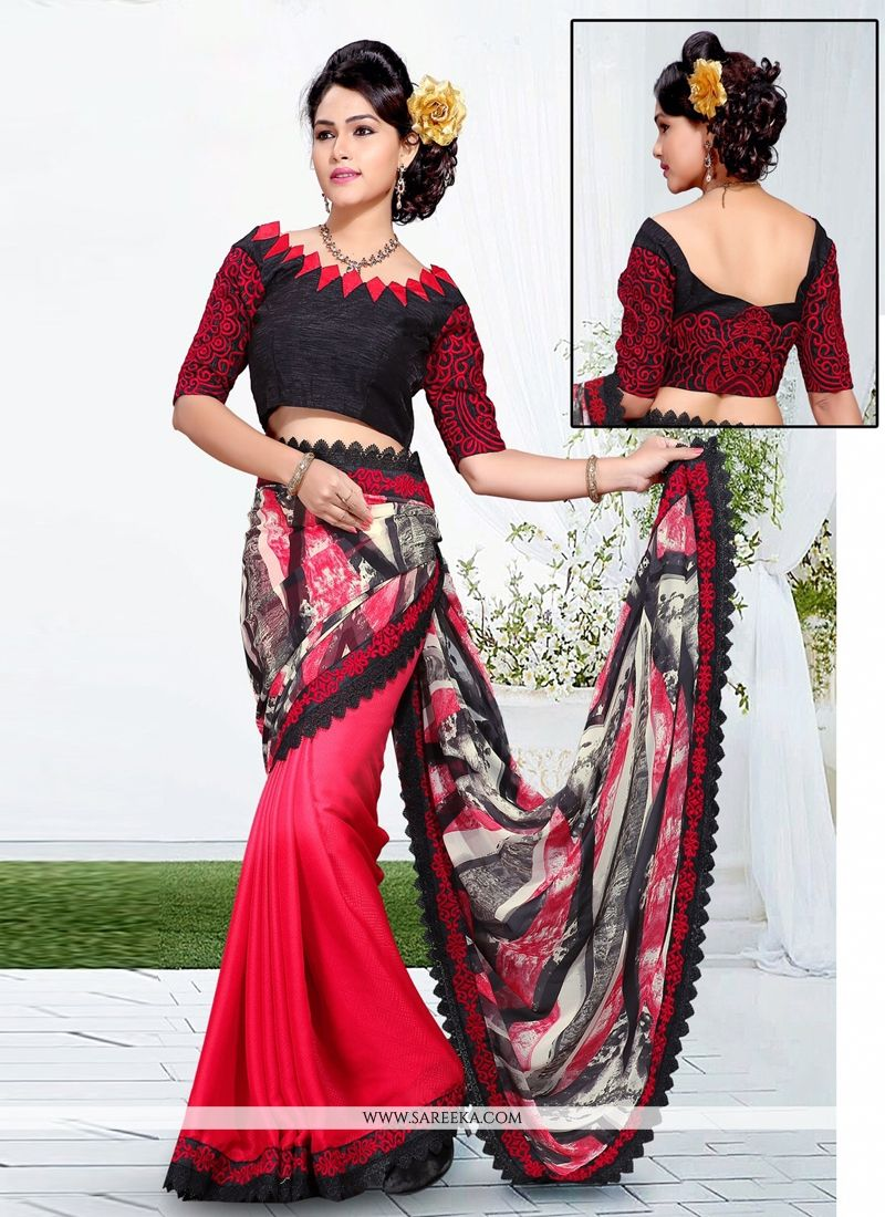 Embroidered Work Red and Black Georgette Casual Saree