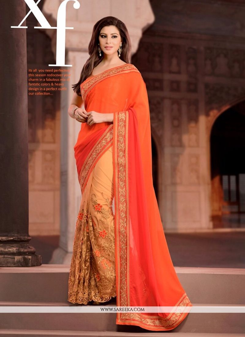 Georgette Orange Patch Border Work Designer Saree