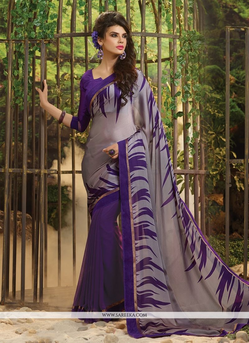 Georgette Purple Casual Saree
