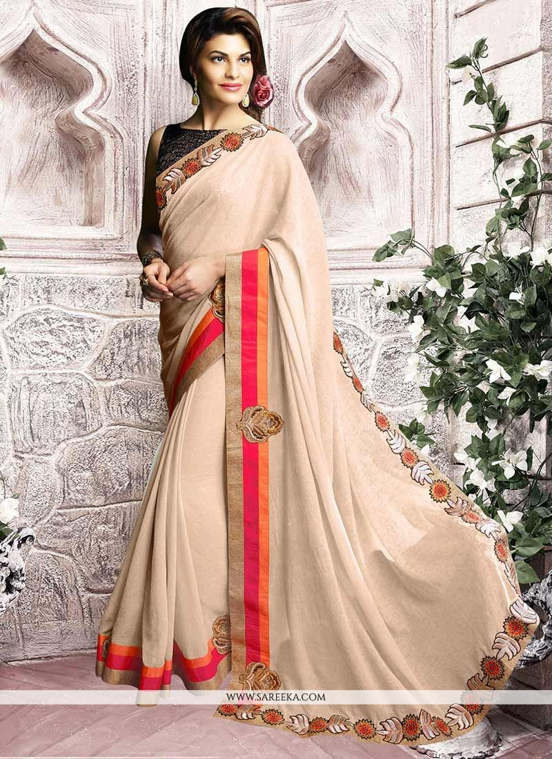 Patch Border Work Jacqueline Fernandez Designer Saree