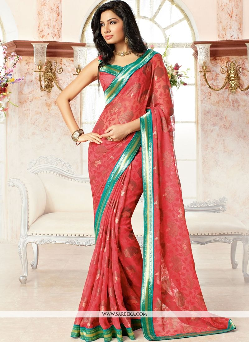 Brasso Georgette Red Print Work Casual Saree
