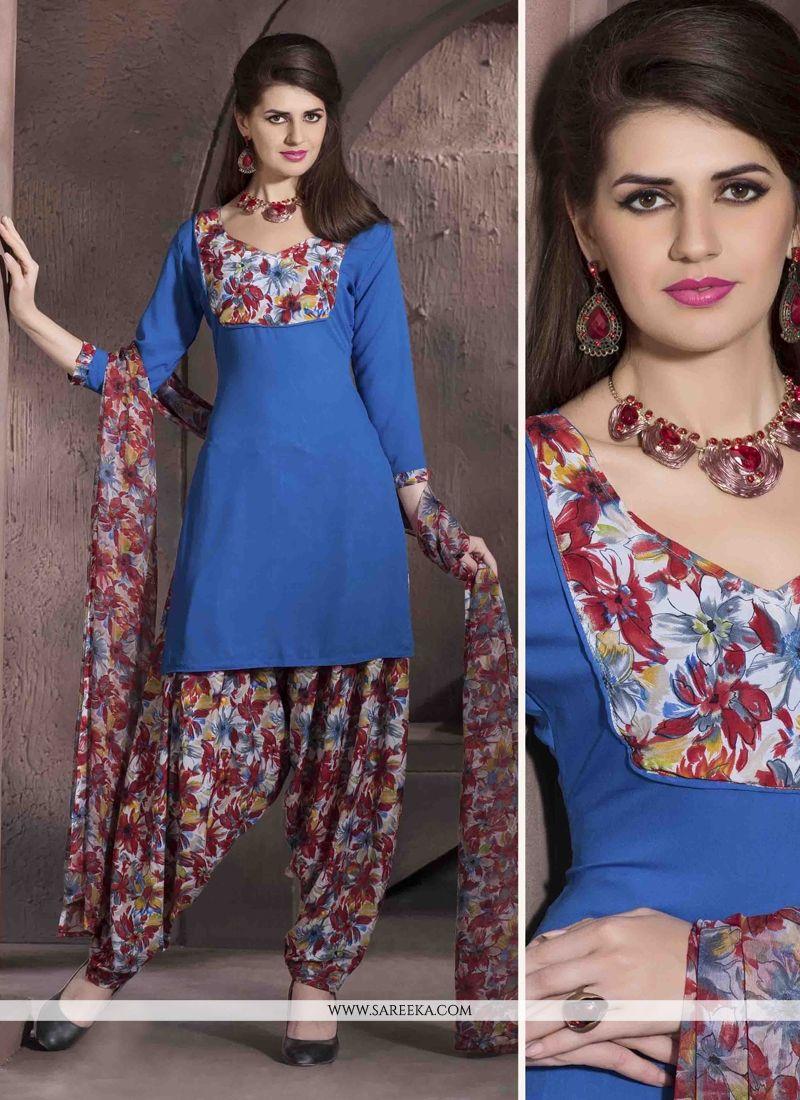 Faux Crepe Blue Print Work Designer Patiala Salwar Kameez