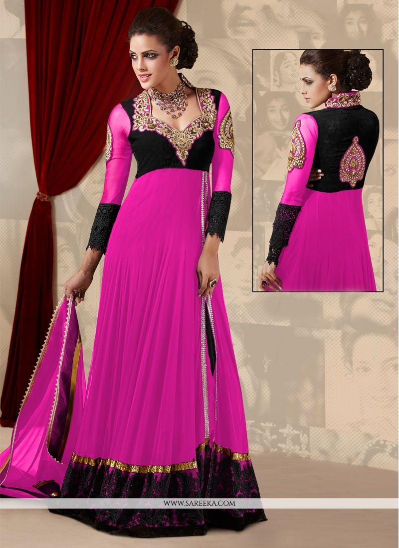 Magenta Georgette Floor Length Anarkali Suit