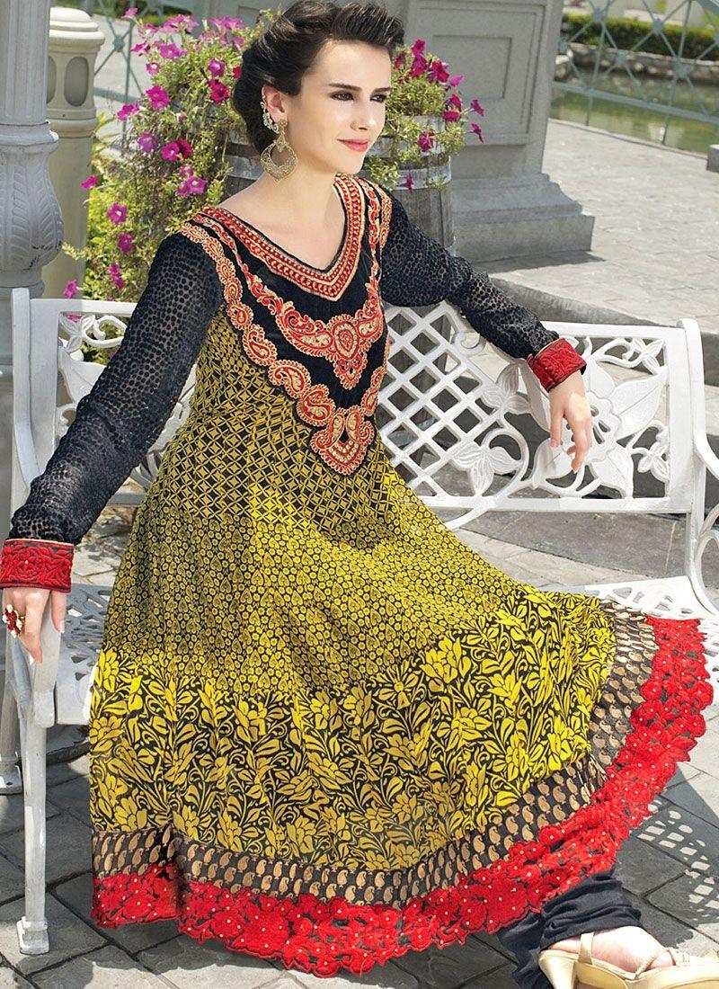 Mustard Resham Work Faux Georgette Anarkali Suit