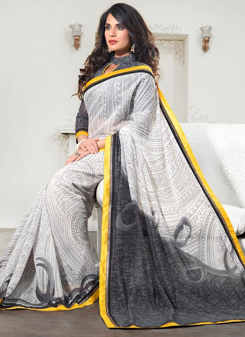 Off White Printed Silk Saree
