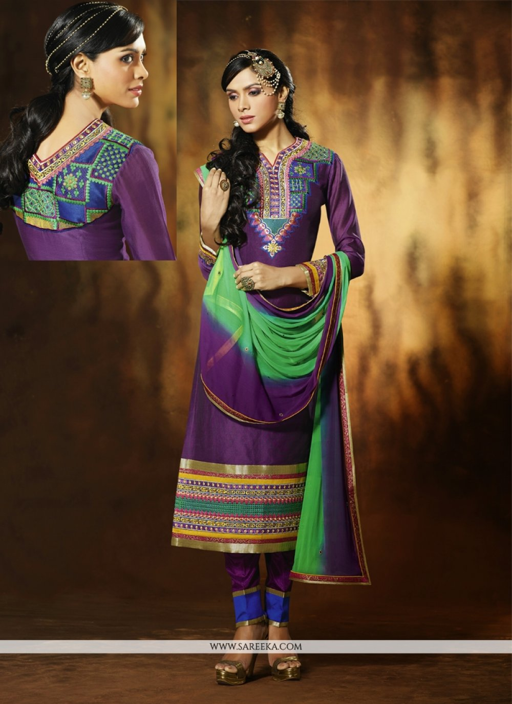 Purple Art Silk Pant Style Salwar Suit