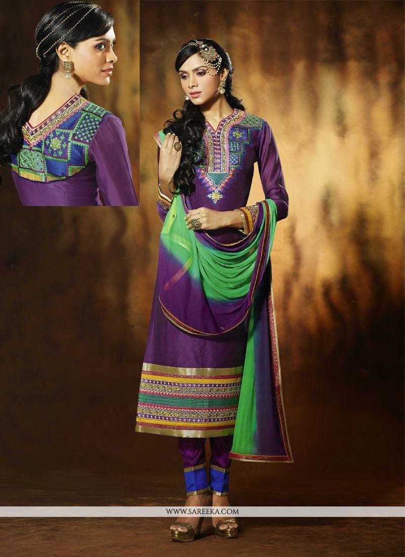 Purple Art Silk Pant Style Salwar Suit