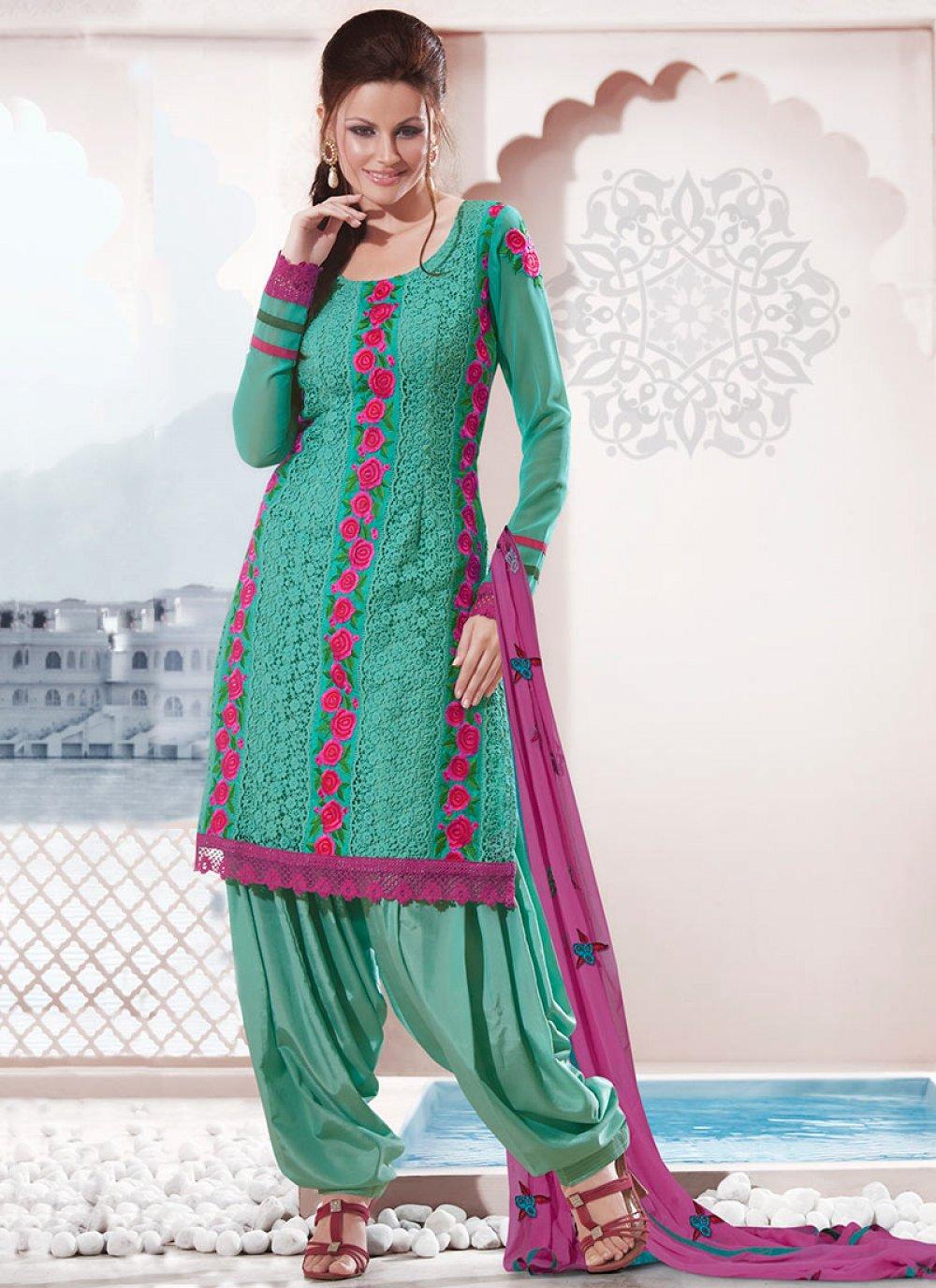 Teal Georgette Salwar Suit