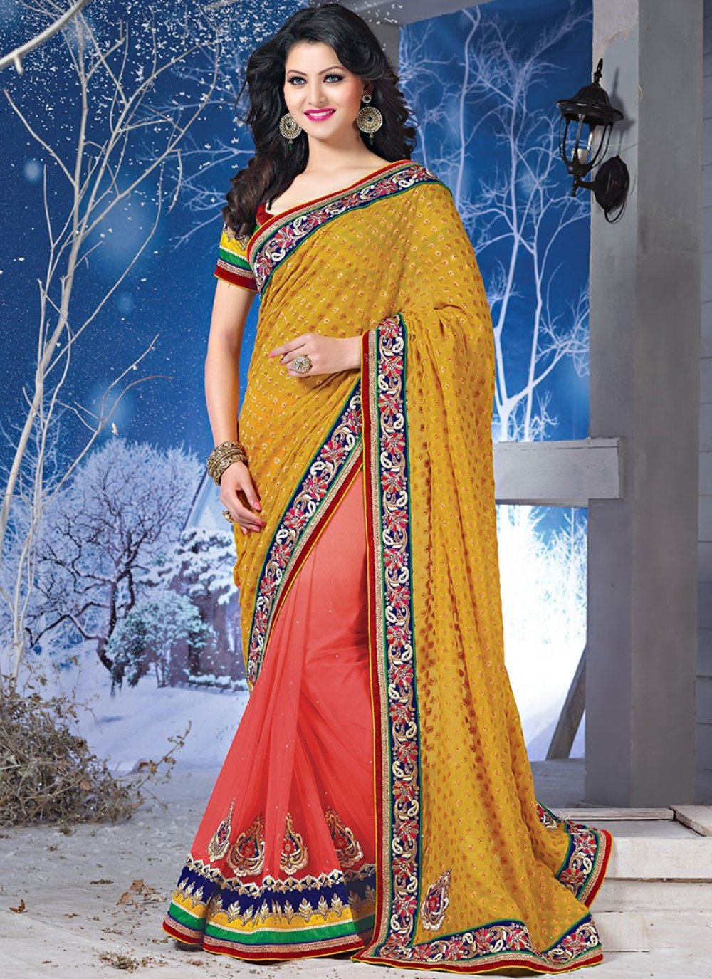 Charm Mustard And Red Border Work Viscose And Net Saree