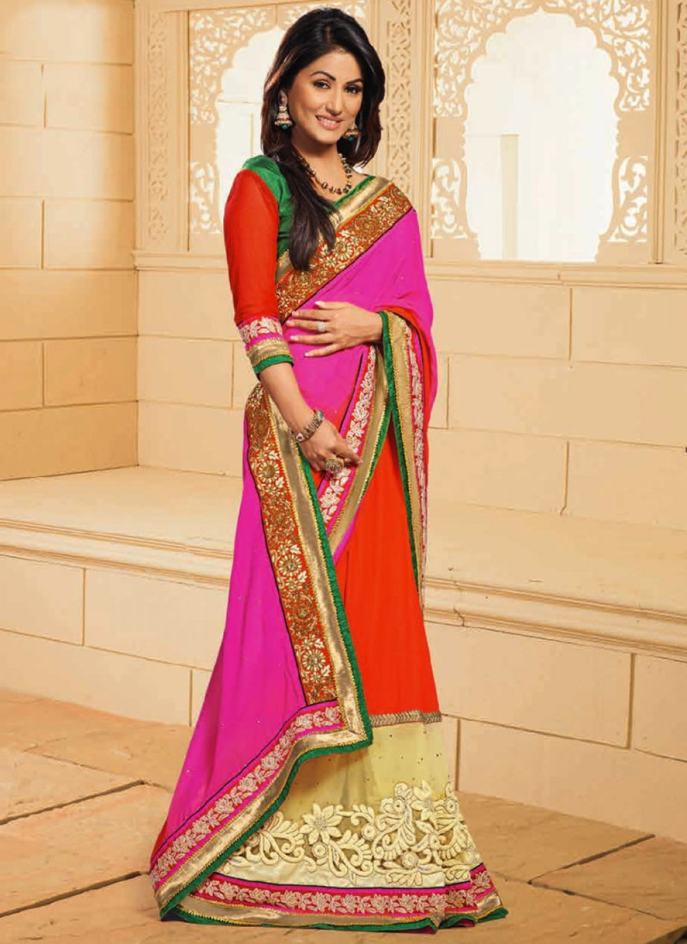 Akshara Orange And Pink Net Designer Saree