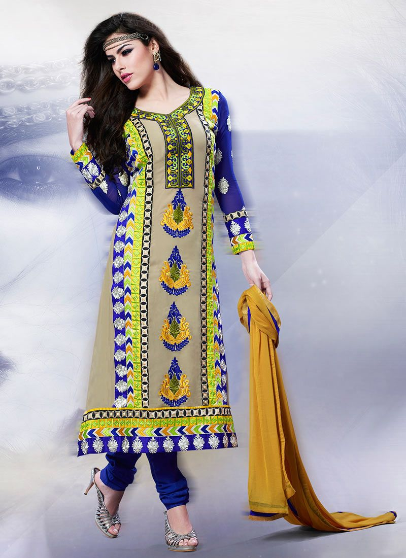 Beige And Blue Georgette Churidar Suit