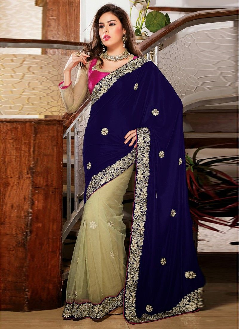 Beige And Blue Net Designer Saree