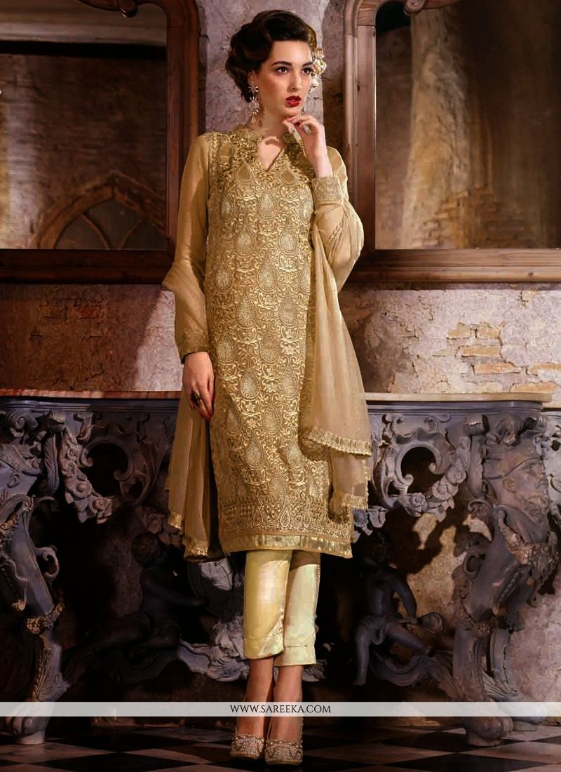 Beige Embroidery Work Pant Style Suit
