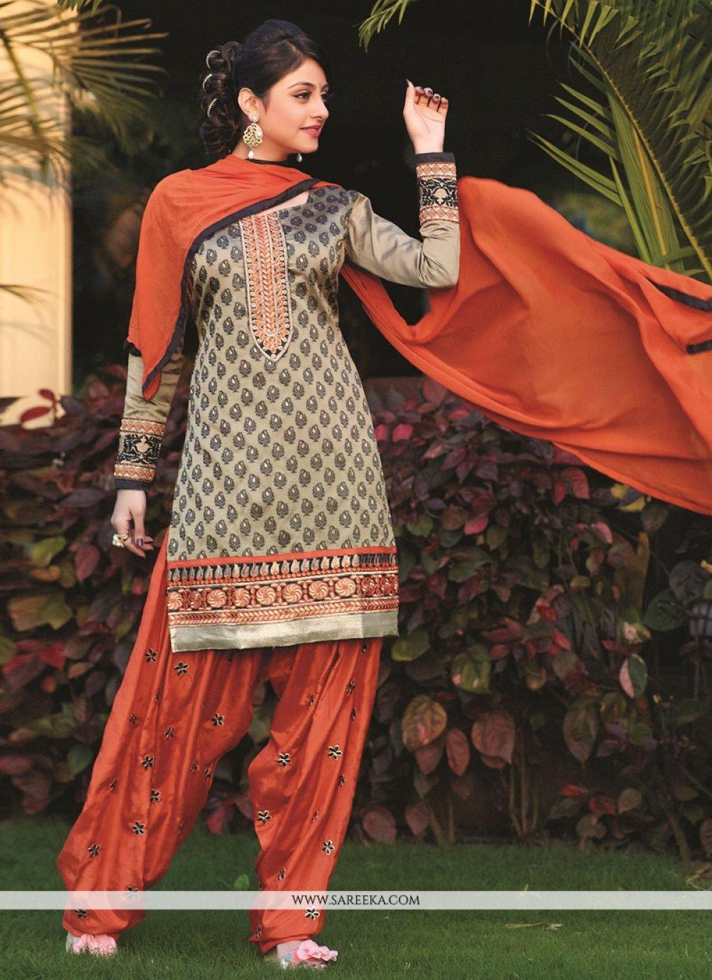 Beige Embroidery Work Punjabi Suit
