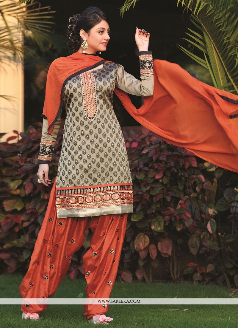 Beige Embroidery Work Punjabi Suit