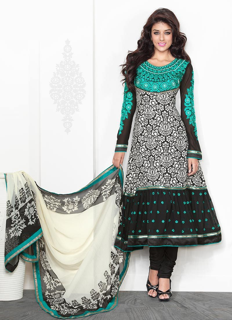 Black And Blue Crepe Churidar Suit
