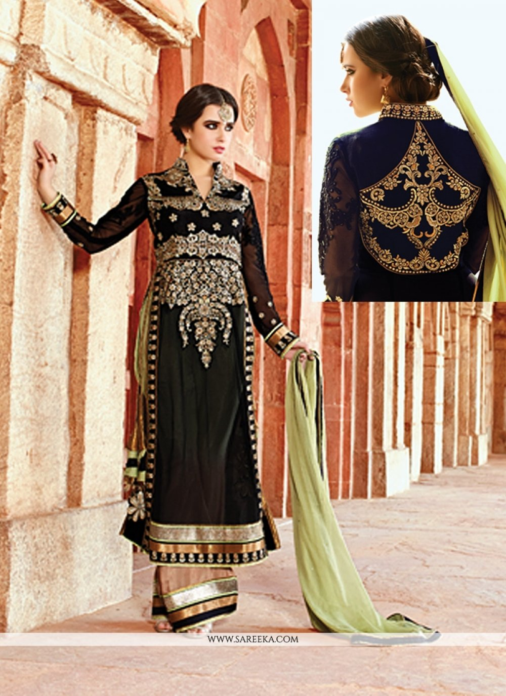 Black Embroidery Work Palazzo Suit