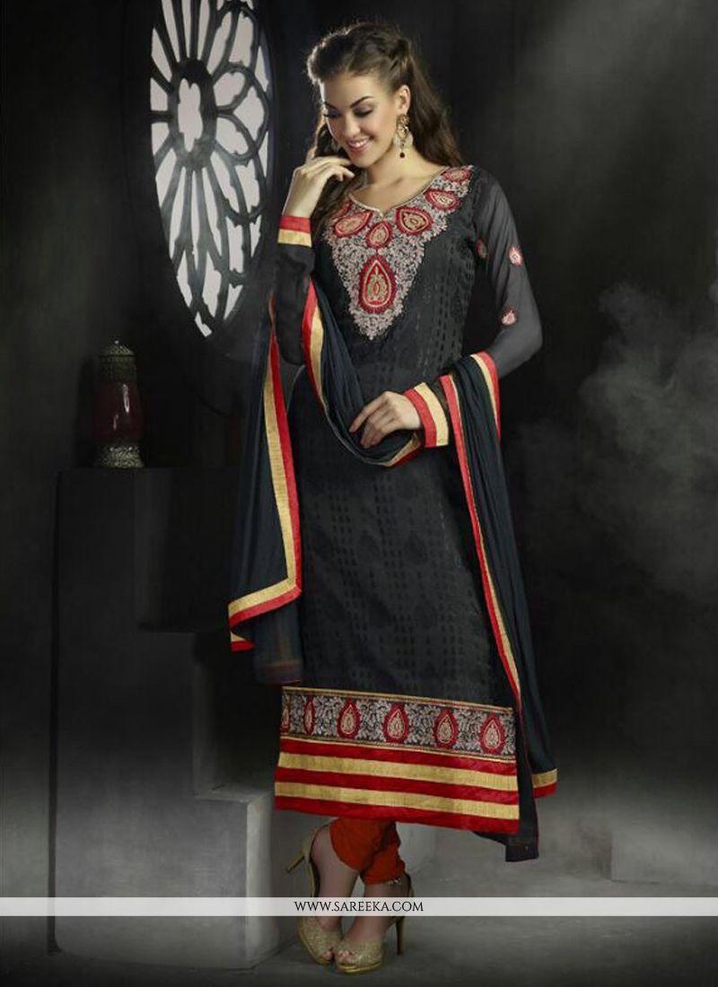 Black Georgette Churidar Salwar Suit