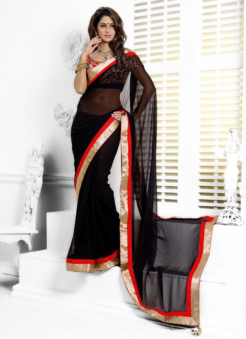 Black Georgette Wedding Saree