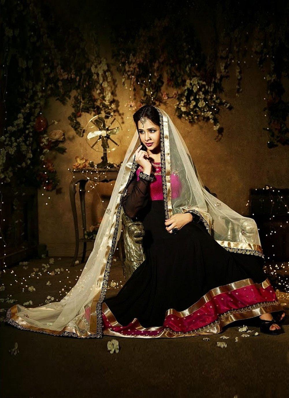 Black Pure Georgette Anarkali Suit