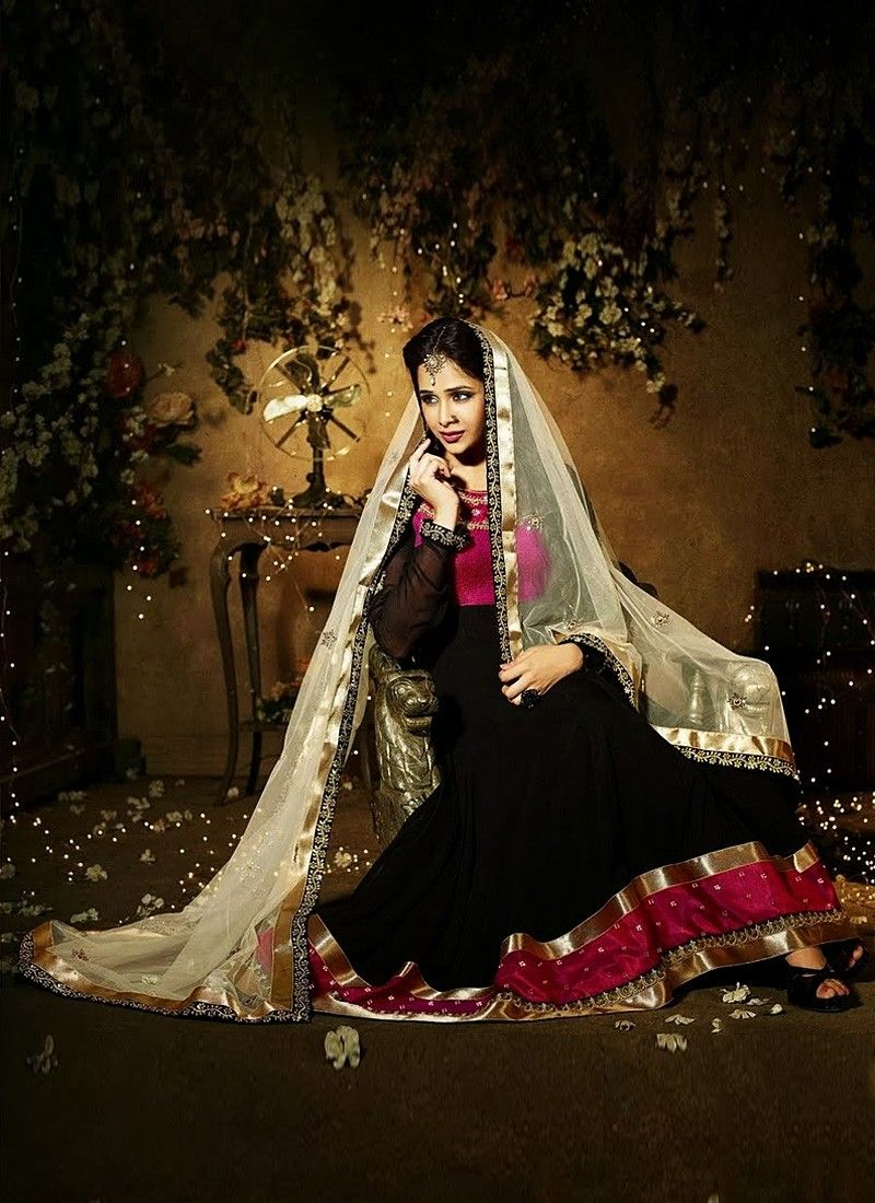 Black Pure Georgette Anarkali Suit