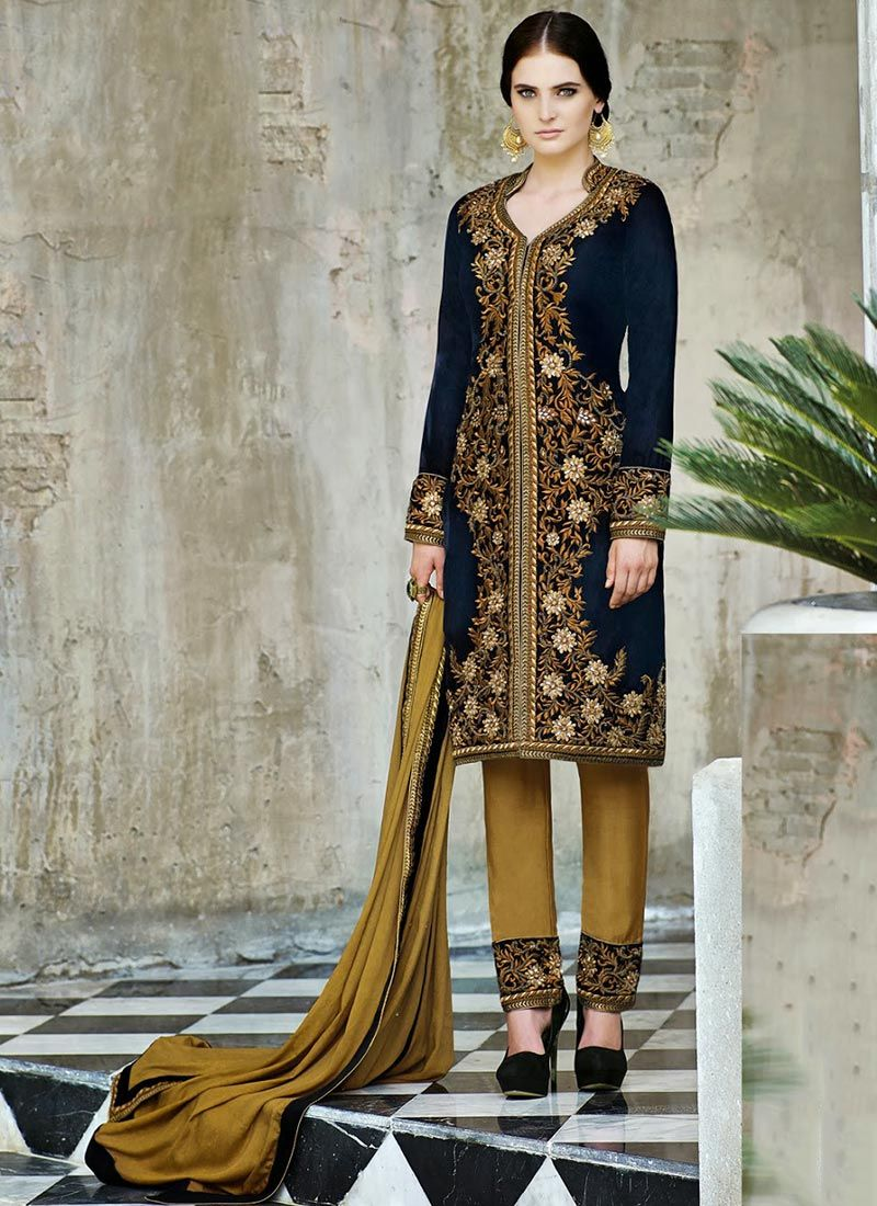 Black Resham Enhanced Velvet Churidar Suit