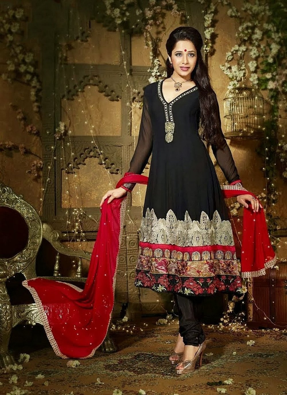 Black Resham Work Churidar Suit