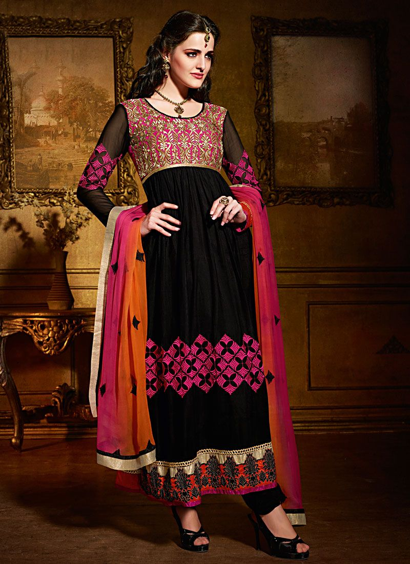 Black Super Net Anarkali Suit