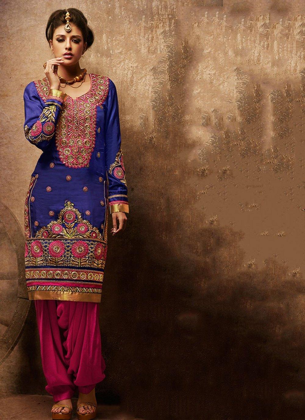 Blue Faux Georgette Punjabi Suit