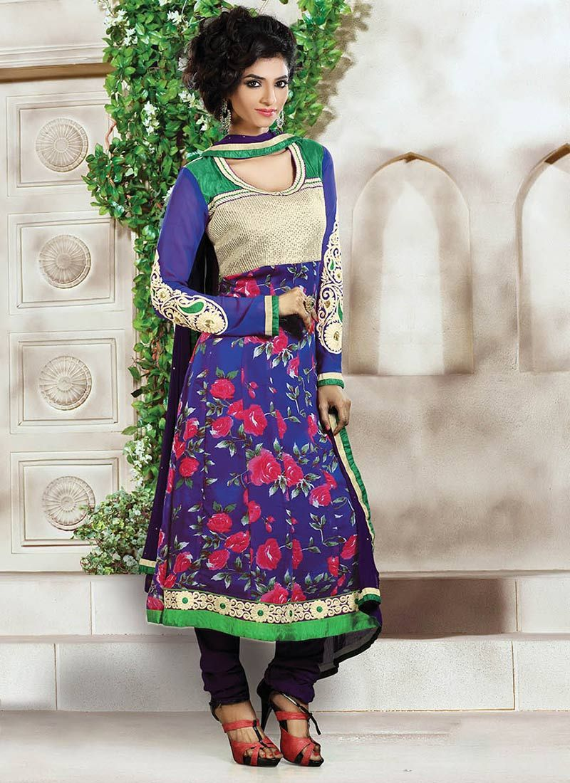 Blue Printed Churidar Suit