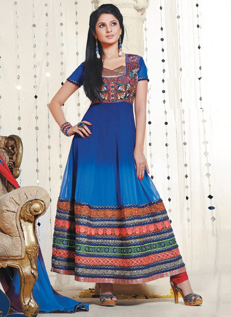 Blue Resham Border Work Ankle Length Anarkali Suit