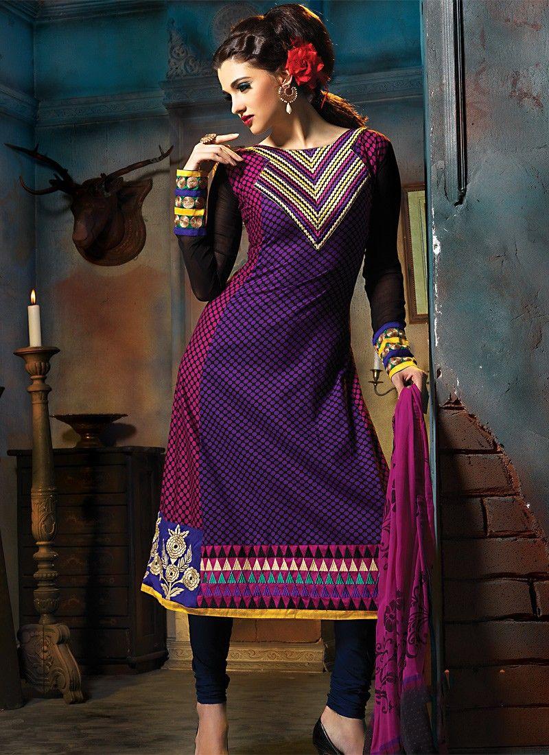 Bluish Purple & Fuchsia Salwar Kameez